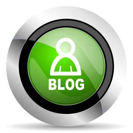 blog icon: blog icon, green button Stock Photo
