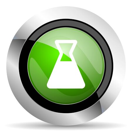 green button: laboratory icon, green button
