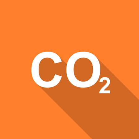 dioxido de carbono: carbon dioxide flat design modern icon with long shadow for web and mobile app Foto de archivo