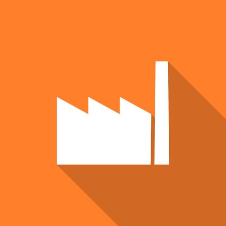industrialist: factory flat design modern icon with long shadow for web and mobile app Stock Photo