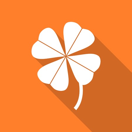 fourleaf: four-leaf clover flat design modern icon with long shadow for web and mobile app