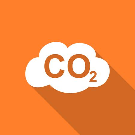 dioxido de carbono: el dióxido de carbono icono moderno diseño plano con una larga sombra para la web y de aplicaciones móviles