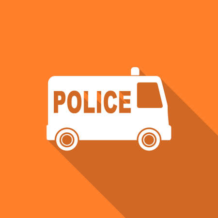 highway patrol: police flat design modern icon with long shadow for web and mobile app Stock Photo