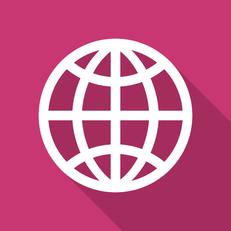 parallel world: earth flat design modern icon with long shadow for web and mobile app