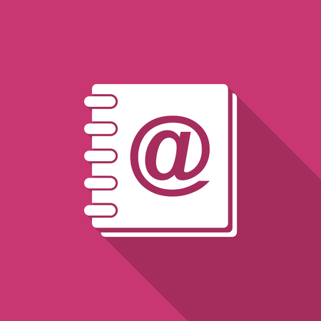 address book: address book flat design modern icon with long shadow for web and mobile app Stock Photo