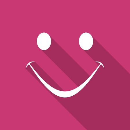 yea: smile flat design modern icon with long shadow for web and mobile app Stock Photo