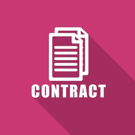 pacto: contratar plana icono moderno diseño con la larga sombra de la web y de aplicaciones móviles