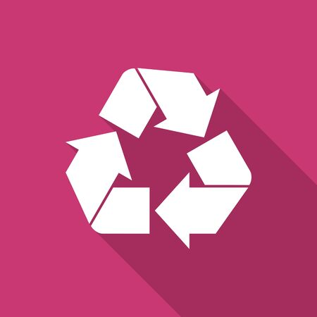 recycle icon: recycle flat design modern icon with long shadow for web and mobile app Stock Photo
