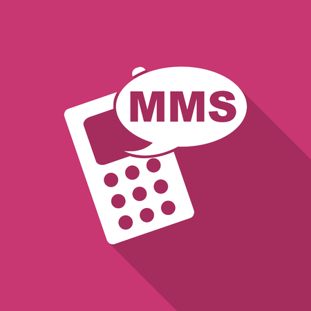 mms: mms flat design modern icon with long shadow for web and mobile app Stock Photo