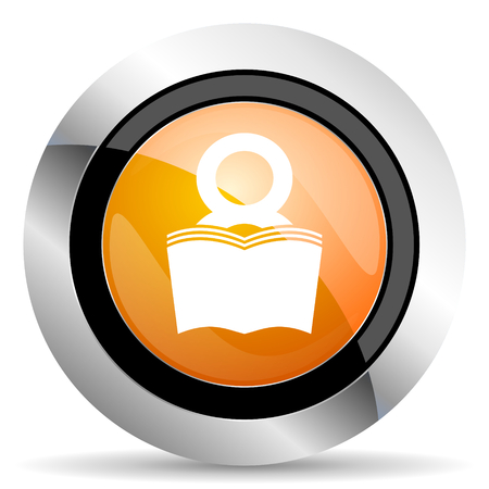 bibliophile: book orange icon reading room sign bookshop symbol