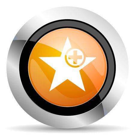 the favourite: star orange icon add favourite sign