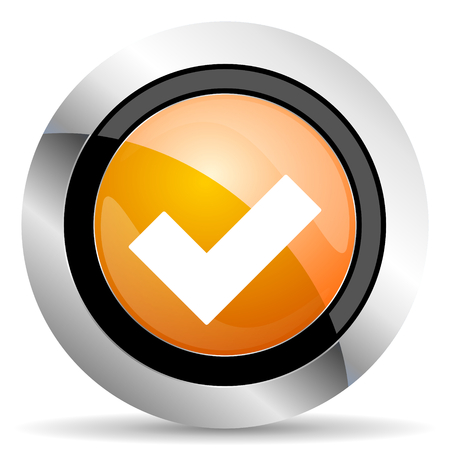 approval button: accept orange icon check sign