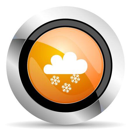 snowing: snowing orange icon waether forecast sign