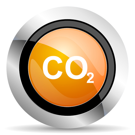 carbon dioxide: carbon dioxide orange icon co2 sign