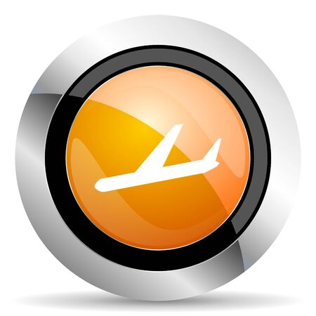 arrivals: arrivals orange icon plane sign