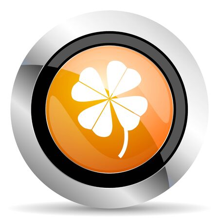 fourleaf: four-leaf clover orange icon