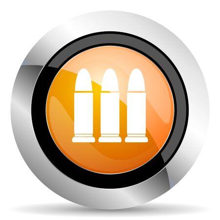 ammunition: ammunition orange icon weapoon sign Stock Photo