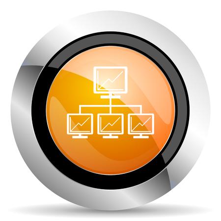 lan: network orange icon lan sign Stock Photo