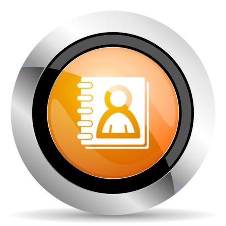 address book: address book orange icon Stock Photo