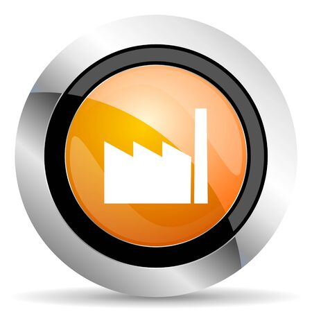 industrialist: factory orange icon industry sign manufacture symbol