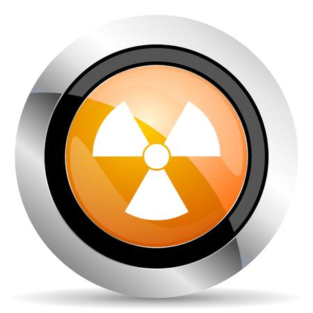 radiacion: naranja radiación signo icono de átomo