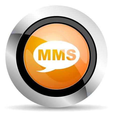 mms: mms orange icon message sign