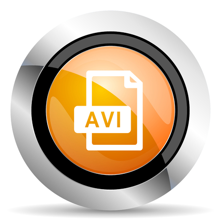 avi: avi file orange icon Stock Photo