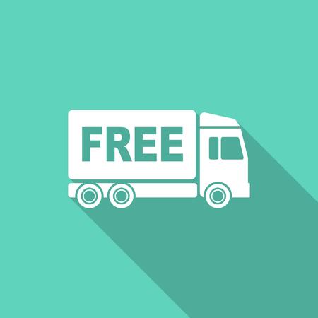 délivrance: livraison gratuite design plat icône moderne avec une longue ombre pour le web et application mobile