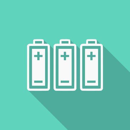 pila: diseño plano de la batería icono moderno con una larga sombra para la web y de aplicaciones móviles