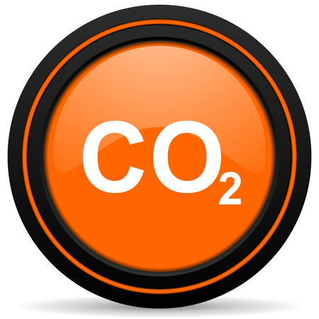 anidride carbonica: carbon dioxide orange icon co2 sign