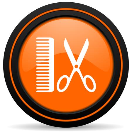 barber: barber orange icon Stock Photo