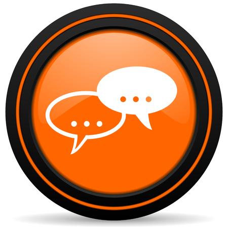 chat icon: forum orange icon chat symbol bubble sign