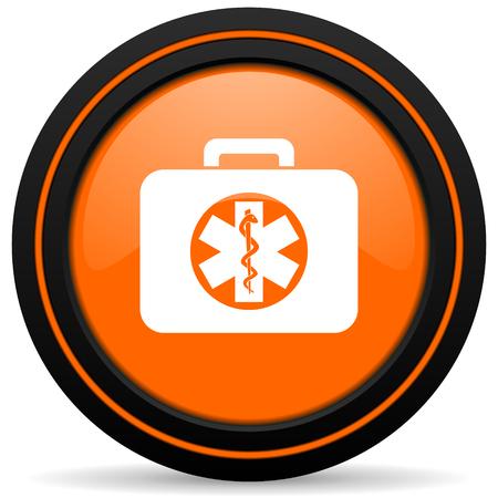 emergency sign: rescue kit orange icon emergency sign Stock Photo