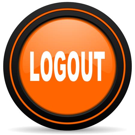 logout: logout orange icon Stock Photo