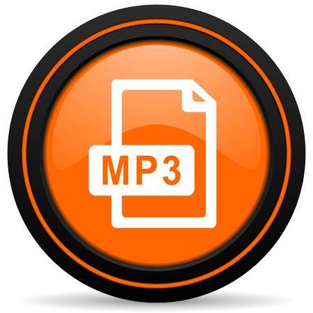 mp3: mp3 file orange icon Stock Photo
