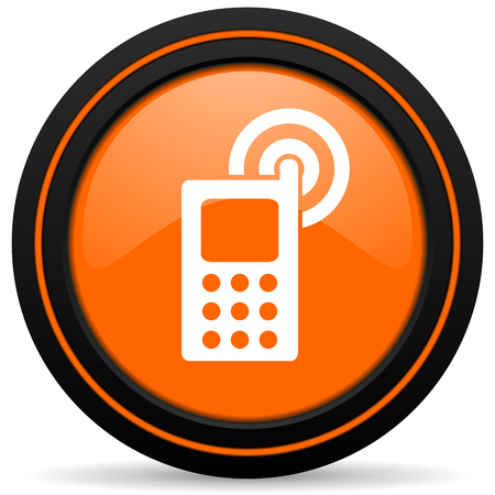 button glossy: phone orange icon mobile phone sign