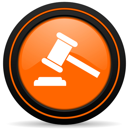 verdict: auction orange icon court sign verdict symbol Stock Photo