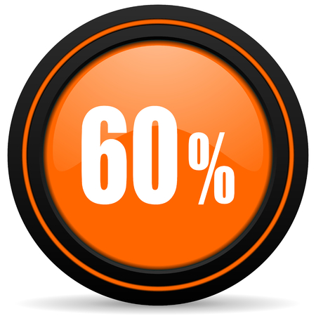 60: 60 percent orange icon sale sign
