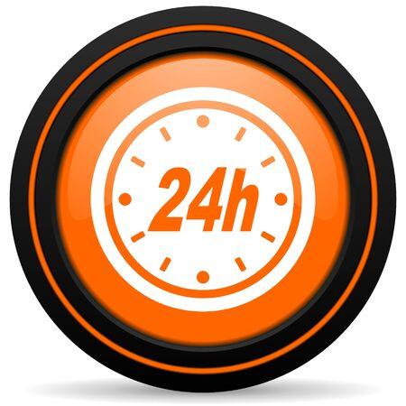 24h: 24h orange icon Stock Photo