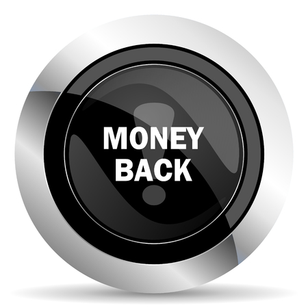 chrome: money back icon, black chrome button Stock Photo
