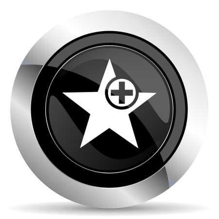favourite: star icon, black chrome button, add favourite sign Stock Photo