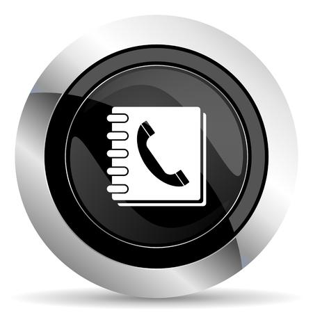 phonebook: phonebook icon, black chrome button
