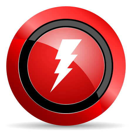 high voltage current: bolt red glossy web icon