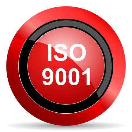 din: iso 9001 red glossy web icon