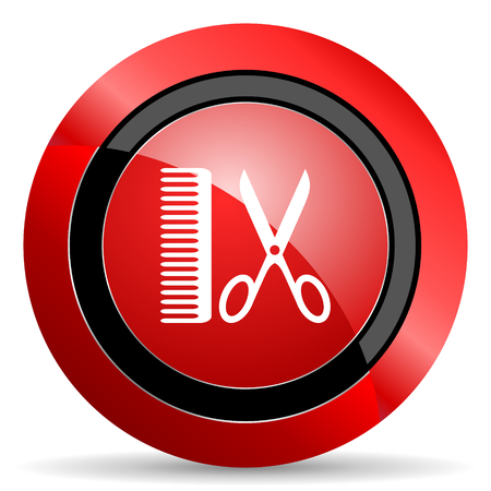 shampooing: barber red glossy web icon