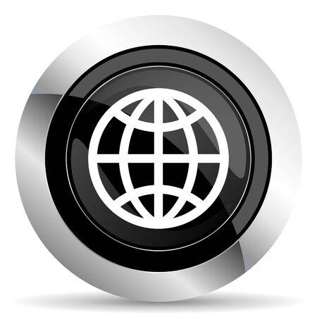 parallel world: earth icon, black chrome button Stock Photo