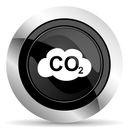 dioxide: carbon dioxide icon, black chrome button, co2 sign Stock Photo