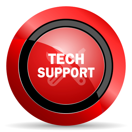 technical support: technical support red glossy web icon