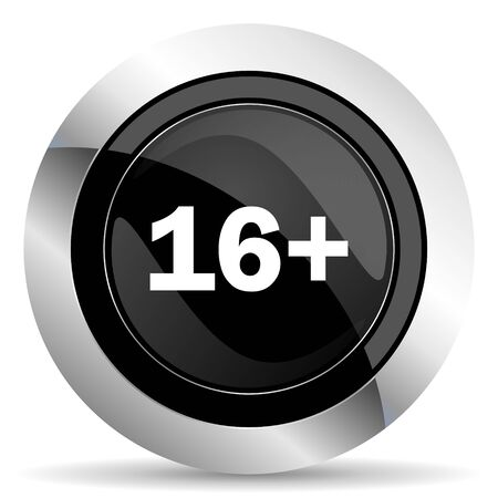 adults: adults icon, black chrome button Stock Photo