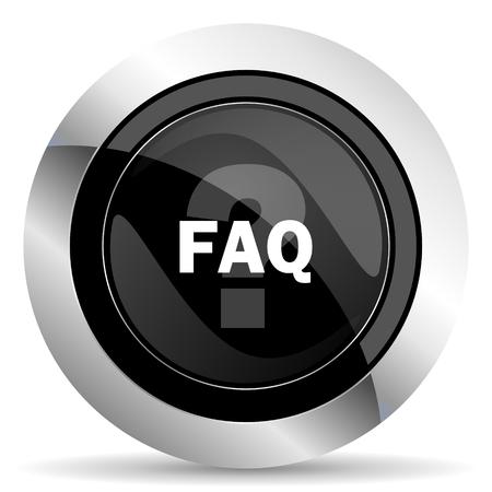 faq icon: faq icon, black chrome button